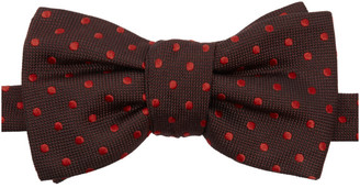 Alexander McQueen Burgundy and Red Spot Bow Tie