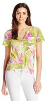 Caribbean Joe Women's Printed Super Soft Button-Up T-Shirt