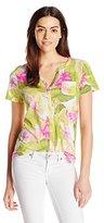 Caribbean Joe Women's Printed Super Soft Button-Up T-Shirt