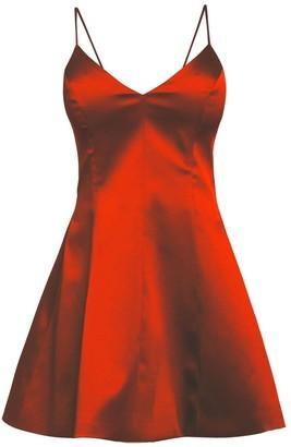 Cliché Reborn Satin Spaghetti Strap Fit Flare Structured Dress In Red