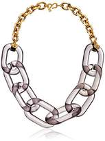 """Kenneth Jay Lane Gold Chain Smoky Grey Link Necklace, 22"""""""