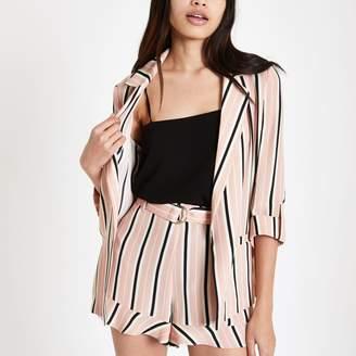 River Island Womens Pink stripe print rolled sleeve blazer
