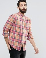 Asos Check Shirt With Acid Wash In Long Sleeve In Regular Fit