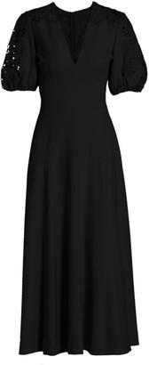 Lela Rose Lace-Sleeve Crepe Midi Dress