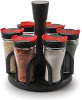Six-Jar Contempo Cylinder Spice Rack Set
