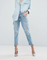 A Gold E A-Gold-E AGoldE Isabel Slim Fit Boyfriend Jean with Rips
