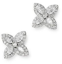 Bloomingdale's Diamond Marquis Flower Stud Earrings in 14K White Gold - 100% Exclusive