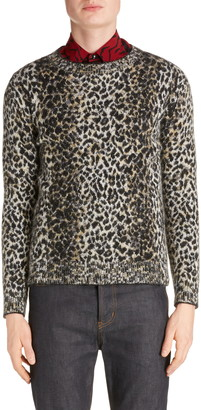 Saint Laurent Leopard Wool Blend Sweater