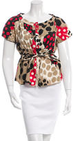 Moschino Cheap & Chic Moschino Cheap and Chic Tie-Accented Printed Top
