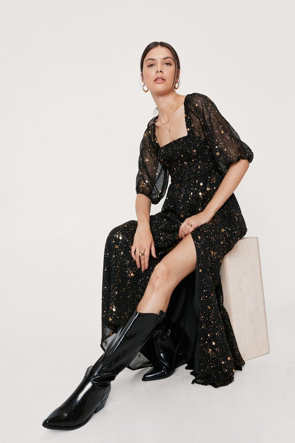 Thumbnail for your product : Nasty Gal Womens Star Metallic Maxi Slit Dress - Black - 4