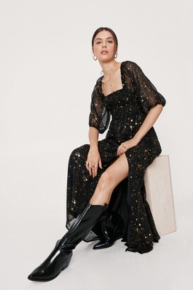 Nasty Gal Womens Starry Eyed Metallic Maxi Dress - Black - 4
