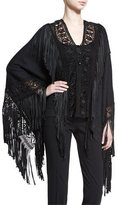 Ralph Lauren Fringed Macrame Poncho Top, Black