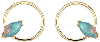 WWAKE Marquise Opal Gold Circle Stud Earrings
