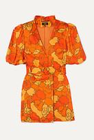 De La Vali Mila Belted Floral-print Satin-twill Mini Dress
