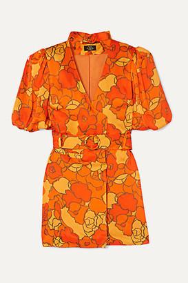 De La Vali Mila Belted Floral-print Satin-twill Mini Dress - Orange