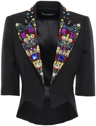 Dolce & Gabbana Cropped Embellished Wool-blend Jacket