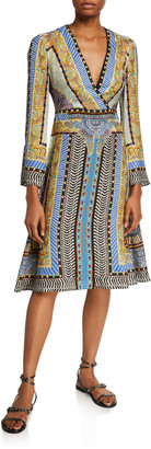 Etro Geometric Paisley Faux-Wrap Dress