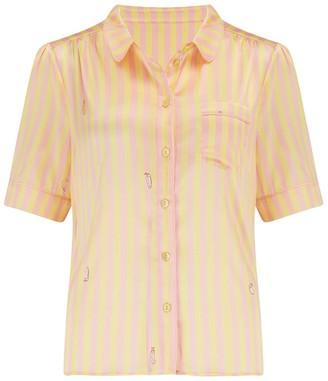 Sleepy Wilson Poppy Silk Pyjama Blouse In Lemonade Stripe