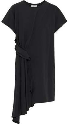 3.1 Phillip Lim Asymmetric Draped Crepe-paneled Cotton-jersey Mini Dress