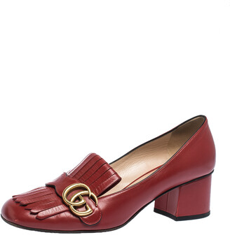 Gucci Red Leather Fringe Marmont GG Loafer Pumps Size 39