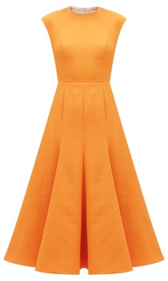 Emilia Wickstead Denver Flared Cloque Midi Dress - Orange