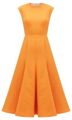 Emilia Wickstead Denver Flared Cloque Midi Dress - Womens - Orange