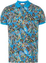 Etro leaf print polo shirt