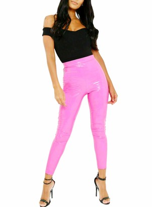 Highland Fashion Women Ladies Vinyl PVC High Waisted Wet Look Super Look Legging Pant Party Fashion (L-XL 16/18 / EU-44-46
