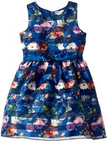 Us Angels Sleeveless Organza Striped Floral Dress with Full Skirt Girl's Dress