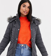 New Look Petite faux fur hood fitted puffer jacket in mid gray