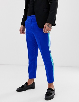 Asos DESIGN tapered trousers in blue satin with side stripe