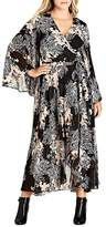 City Chic Shadow Floral Print Maxi Wrap Dress