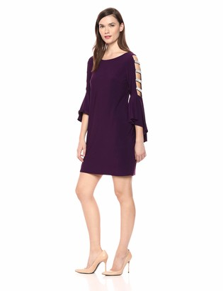 MSK Women's Bell Cocktail Dress with Lattice Sleeve
