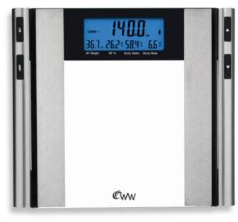 Conair Weight Watchers® by ConairTM Glass & Satin Nickel Body Analysis Bathroom Scale