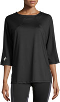 XCVI Movement Mesh 3/4-Sleeve Raglan Tee, Black