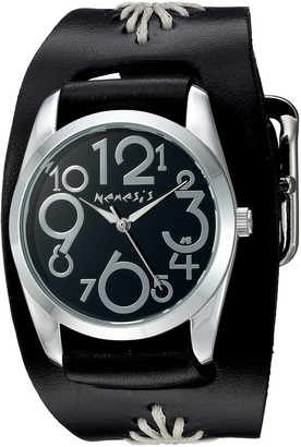 Nemesis Women's 'Showgirl Series' Quartz Stainless Steel and Leather Watch Color:Black (Model: BF109K)