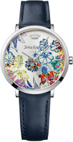Juicy Couture Women's LA Ultra Slim Navy Blue Leather Strap Watch 35mm 1901455