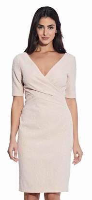 Adrianna Papell Womens White Draped Jacquard Sheath Dress - White