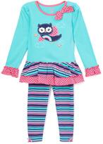 Nannette Teal & Pink Owl Tunic & Leggings - Toddler & Girls