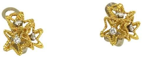 Piaget 18k Yellow Gold & Diamonds Star Design Clip On Earrings