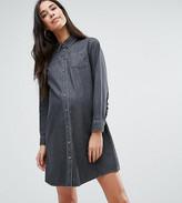 Asos Denim Frill Back Shirt Dress in Washed Black