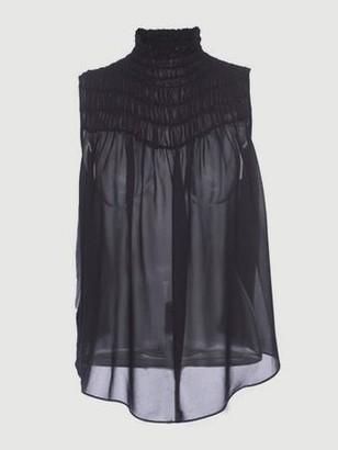 Frame Silk Smocked Sleeveless Blouse