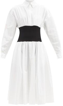 Alexandre Vauthier Elasticated-waist Cotton-poplin Midi Shirt Dress - White