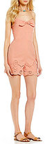Copper Key Sweetheart Neck Embroidered Scalloped-Hem Romper