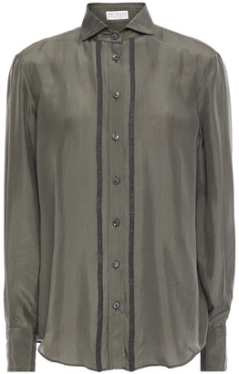 Brunello Cucinelli Bead-embellished Silk-voile Shirt