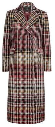 Dorothy Perkins Womens Multi Coloured Check Print Double Breasted Coat, Multi Colour