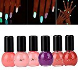 2017 Hot Nail Art!Elevin(TM)6 Candy Colors Fluorescent Neon Luminous Nail Polish Glow In Dark Nails Art Varnish Manicure (F)