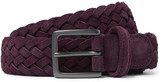 Andersons Anderson's 3cm Plum Woven Suede Belt