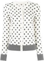 Tory Burch Kingfish print cardigan - women - Merino/Wool/Polyester/Spandex/Elastane - L