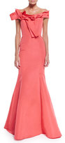 Carolina Herrera Off-The-Shoulder Mermaid Gown, Coral